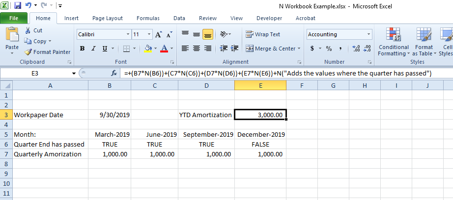 N Function Allows for Documentation in Excel's Formula Bar