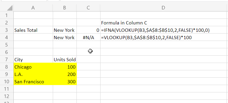 A Vlookup function encapsulated by an IFNA function